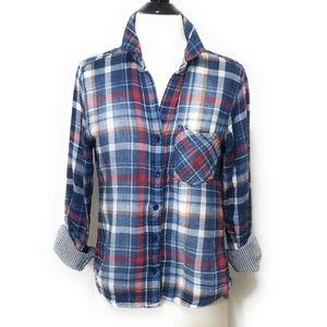 CLOTH & STONE Blue Plaid Button Front Shirt XS